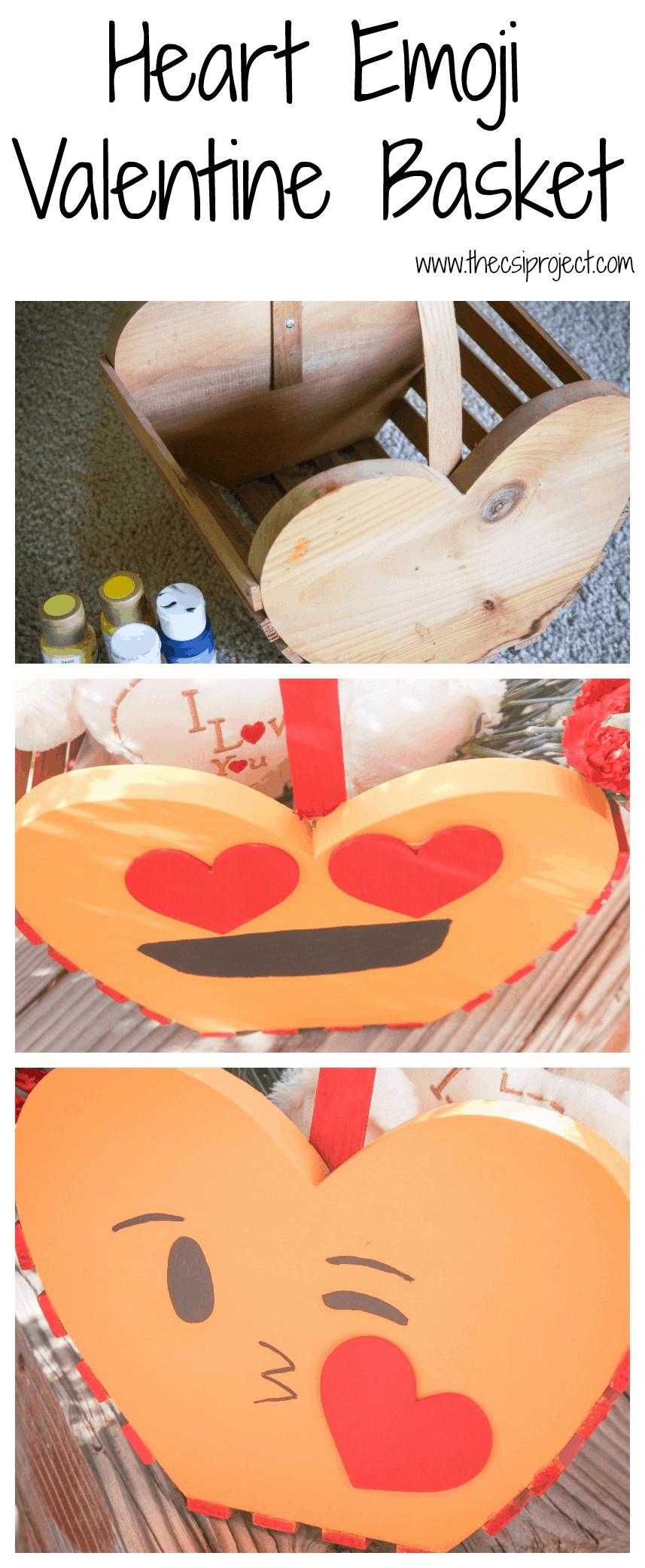 Heart Emoji Valentine Basket